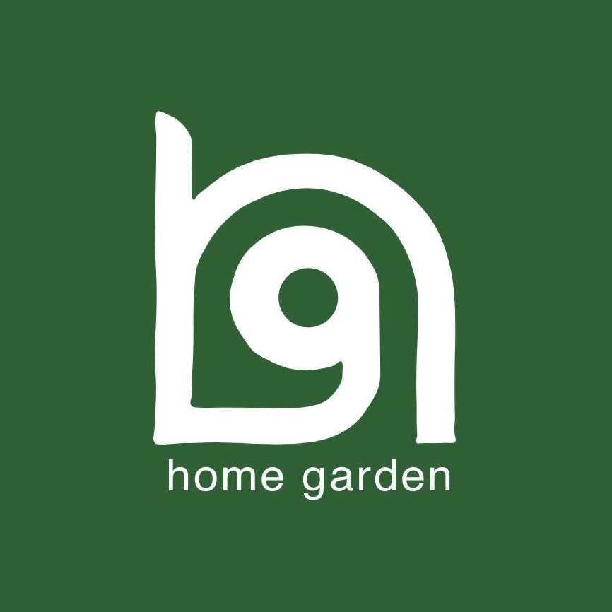 Home Garden logo - a g sitting in an h with a green background