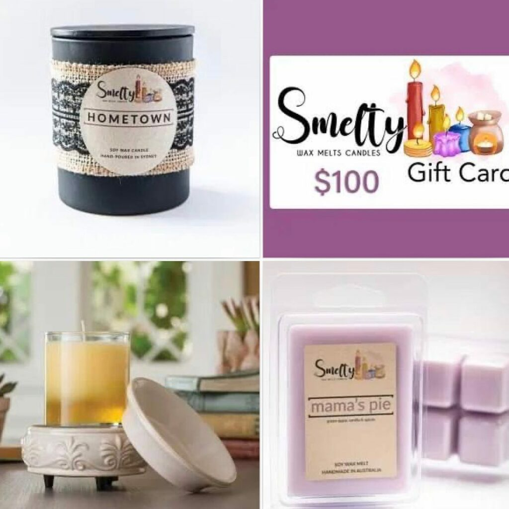 Collage of Smelty waxmelt products and gift card